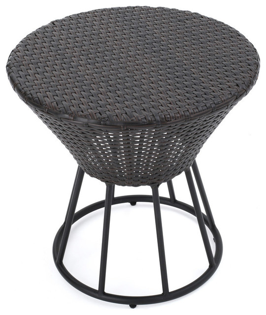Charmant GDF Studio Kavala Wicker Outdoor Accent Table, Brown