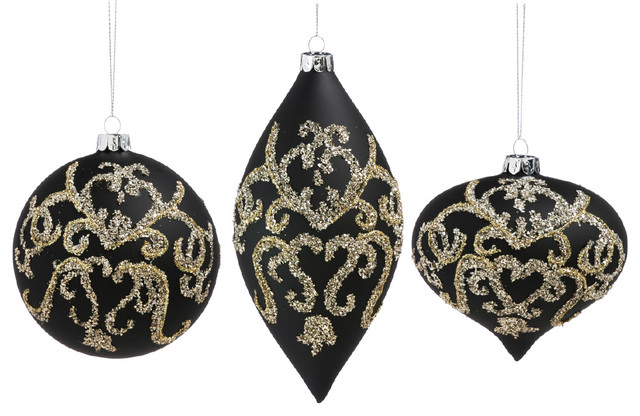 cypress home gold and black embellished glass ornaments 3 piece set - Black And Gold Christmas Ornaments