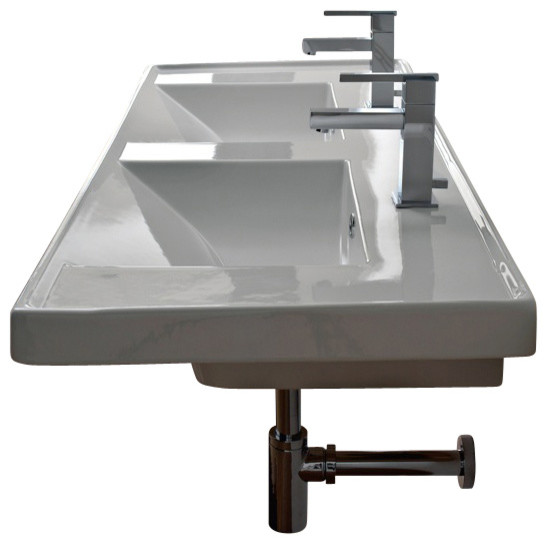 Rectangular Double White Ceramic Self Rimming Or Wall Mounted Bathroom Sink.