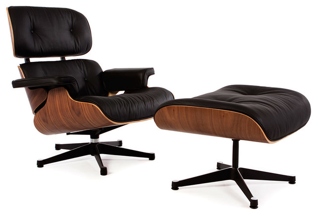 Classic Lounge Chair And Ottoman, Walnut, Genuine Aniline Leather, Black  Midcentury Living