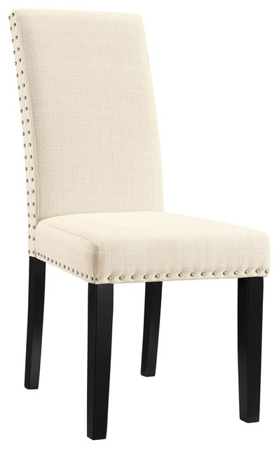 Charming Modway Parcel Dining Fabric Side Chair, Beige Transitional Dining Chairs