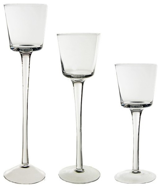Stemmed Glass Candle Holder Set Of 3 Contemporary Candleholders By Cys Excel Inc