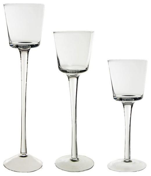Stemmed Glass Candle Holder, Set of 3