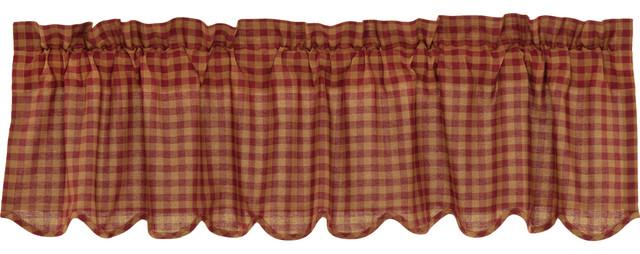 Red Primitive Kitchen Curtains Cody Burgundy Check Valance Rod Pocket Cotton