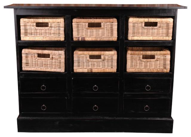 Cottage 6 Basket Cabinet, Antique Black.