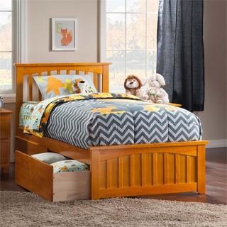 Atlantic Furniture Mission Twin XL Storage Platform Bed, Caramel