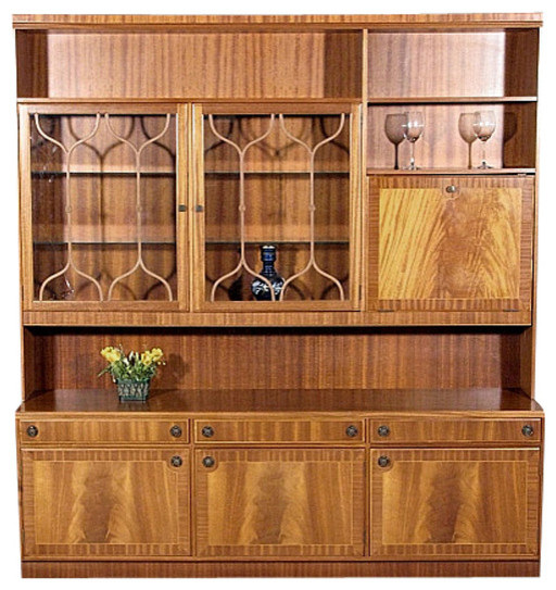Consigned Vintage English Flame Golden Mahogany Cocktail Liquor Bar China Hutch - Traditional ...