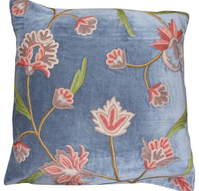 Shop Houzz Crewel Fabric World by MDS Gulabadar Cotton Velvet Crewel Pillow, Skeesh ...
