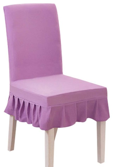 Light Purple 2 Pcs Fit Stretch Elastic Short Chair Covers Cloth Slipcovers