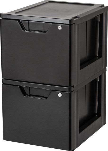 Stacking File Storage Drawer With Lock, 2-Pack, Black - Contemporary - Filing Cabinets - by IRIS ...