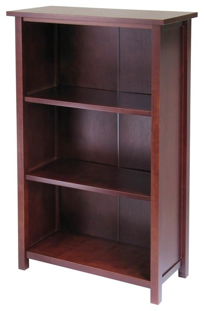 Solid Wood Bookcase Credenza W 3 Shelves.