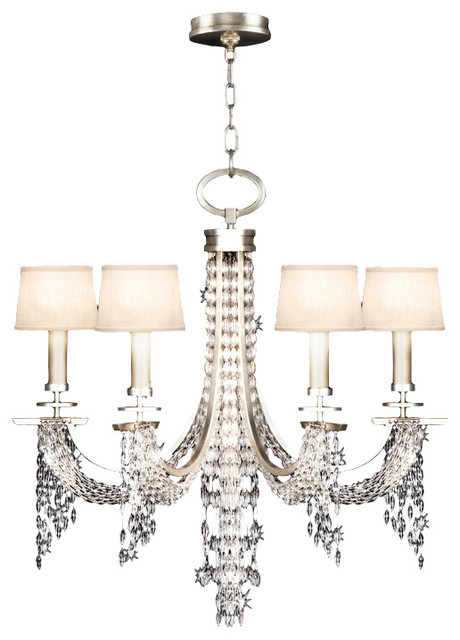 Exceptional Fine Art Lamps 748740ST Cascades Silver Leaf 6 Light Chandelier Photo Gallery