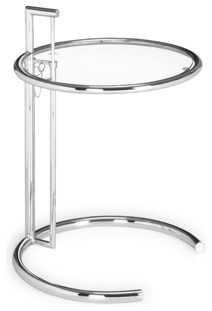 Chrome Side Table Clear Glass Contemporary Side Tables