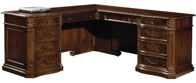 Executive L Desk Walnut Burl