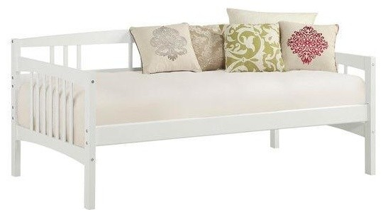 Twin Size Traditional Pine Wood Day Bed Frame, White.