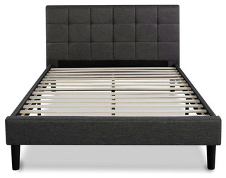 Full Size Modern Platform Bed With Dark Gray Square Stitched Upholstered