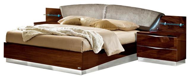 Onda Walnut Bedroom Set By Camelgroup, Queen Bed And 2 Nightstands  Contemporary Bedroom