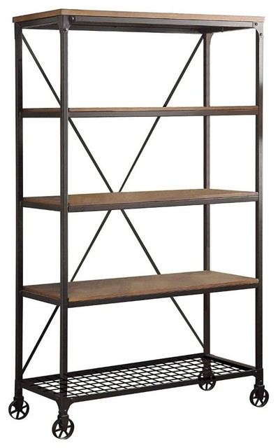 Metallic Book Case With Wooden Top And Shelves, Brown And Black.