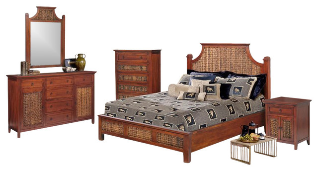 Rattan And Wicker 5 Piece Bedroom Set Tropical Bedroom Furniture Sets