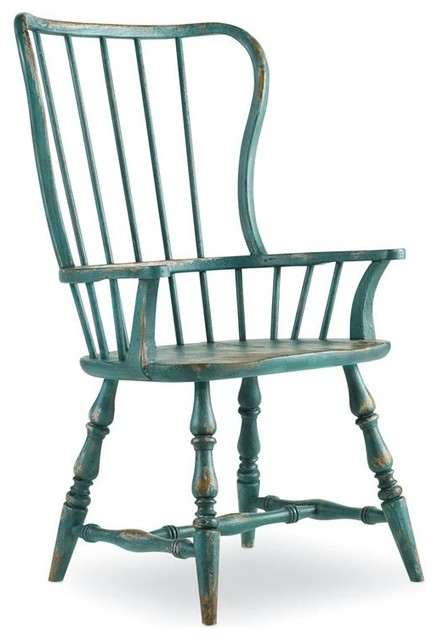 Hooker Furniture Sanctuary Sky High Azure Blue Spindle Chair, Set Of 2, Arm  Traditional