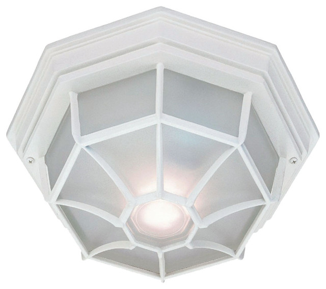 Flush Mount Collection Ceiling-Mount 2-Light Outdoor Light, Textured White.