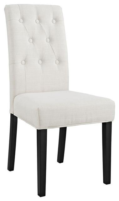 Confer Dining Fabric Side Chair, Beige.