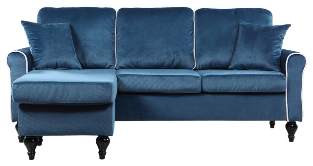 traditional small space velvet sectional sofa with reversible chaise blue