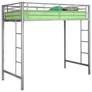 Metal Twin Loft Bunk Bed, Silver, Silver