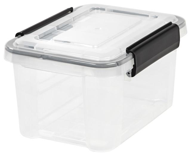 6.5 Quart Weather Tight Storage Box, Clear.