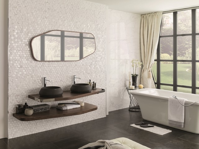 3 Dimensional Feature Tiles Forest Carrara Blanco Contemporary Bathroom