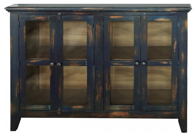 Bayshore Distressed Talavera Blue Finish Solid Wood 4-Door Sideboard China Cabin.