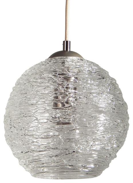 Contemporary Spun Glass Globe Pendant Lights, Clear, 6