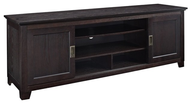 We Furniture 70 Wood Media Tv Stand Console With Sliding Doors Espresso