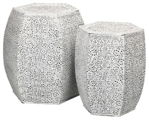 Regal Garden Stools White Vines 2 Piece Set Traditional Accent And By Silver Crystal Gallery