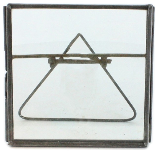 4x4 Square Tabletop Glass Frame, Set of 3, Minimalist Metal Easel ...