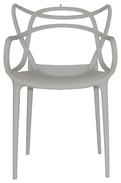 Modern Retro Abstract Pattern Hollow Out Accent Chair, Gray