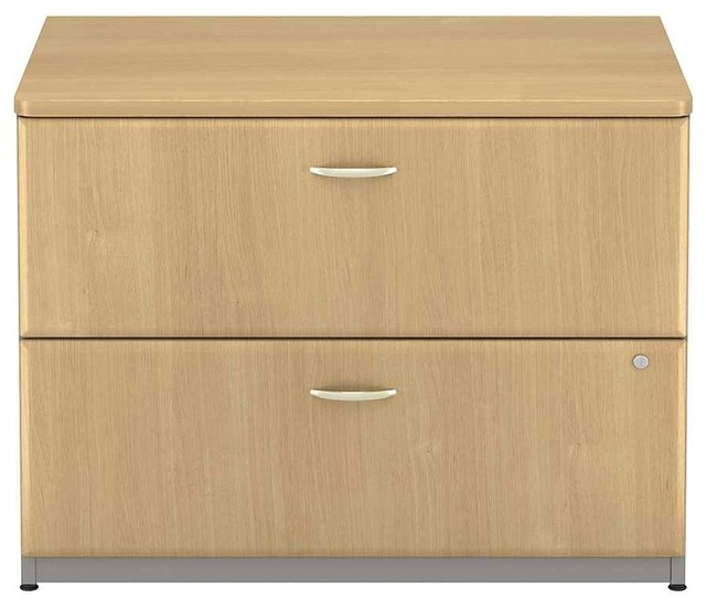 Lateral Grey and Oak File Cabinet w Fully Extendible Drawers - Traditional - Filing Cabinets ...