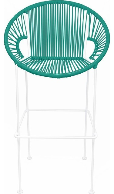 Innit Designs Puerto Counter Stool, White Base, Turquoise