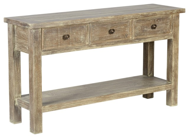Gerald Reclaimed Pine 3 Drawer Console Table By Kosas Home Farmhouse Console  Tables
