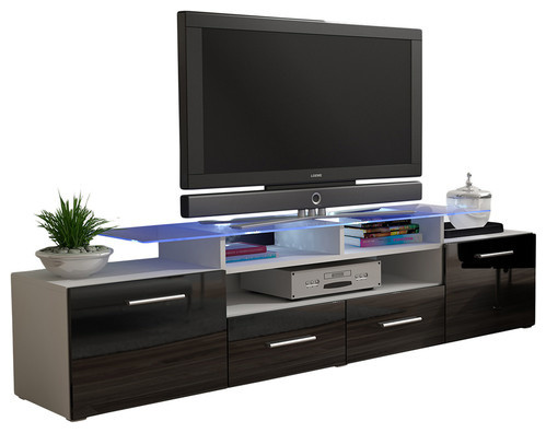 Vegas Tv Stand With Matte Body, High Gloss Doors, 16 Colors Led Lights, White/bl.