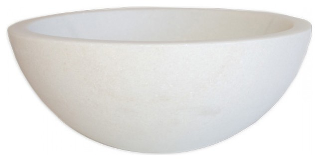 Modern White Marble Small Round Bathroom Vessel Sink, 14 Inch, Natural Stone