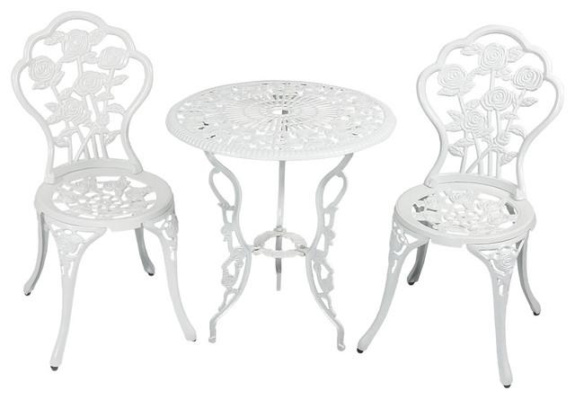 Sunnydaze 3-Piece White Flower Designed Cast Aluminum Bistro Set.