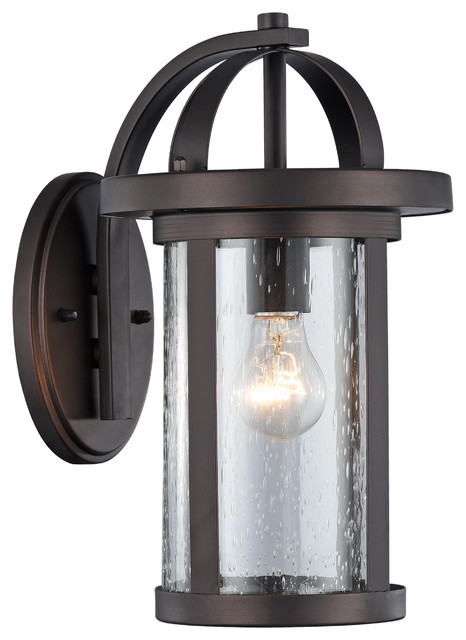 Angelo, Transitional 1 Light Rubbed Bronze Outdoor Wall Sconce, 14 Height.