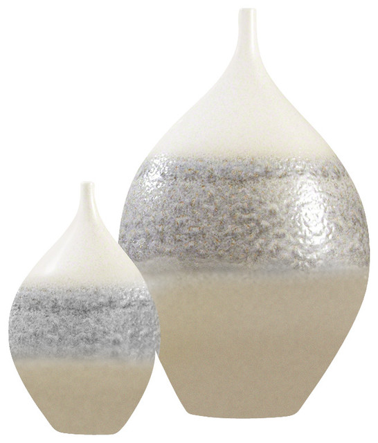 Global Views Cream Rises Vase Wide Transitional Vases By