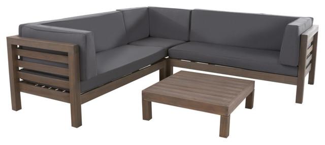 GDF Studio Oana 5-Seat V Shaped Acacia Wood Sectional, Gray/Dark Gray