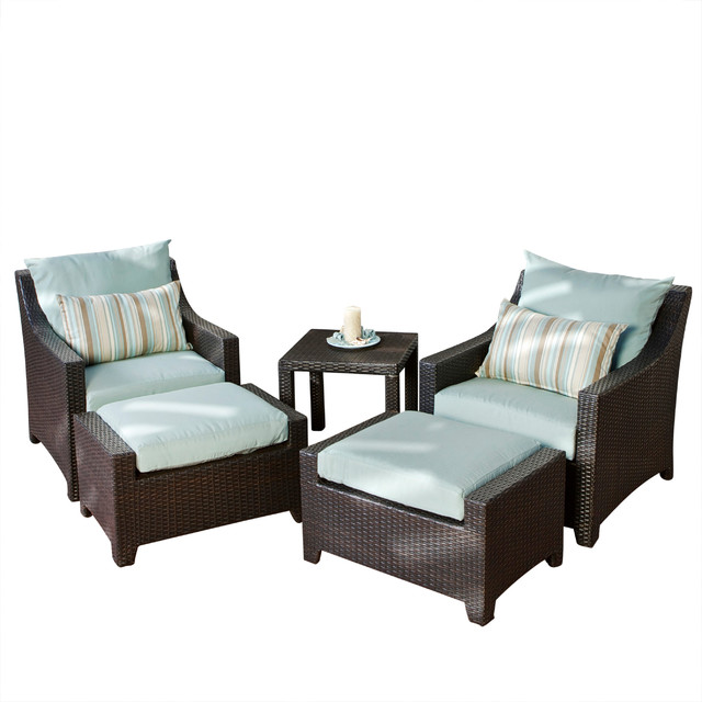 Deco 5 Piece Club Chair And Ottoman Set, Bliss Blue Cushions Tropical  Outdoor Part 50