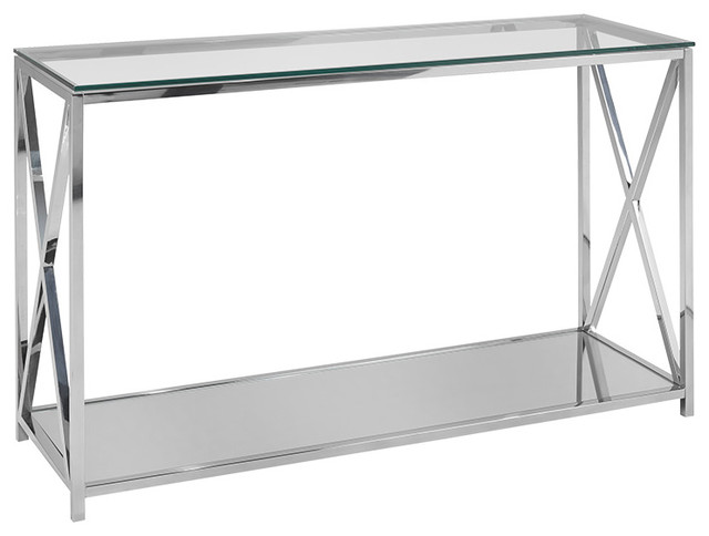Ellen Console Table, Steel And Glass.