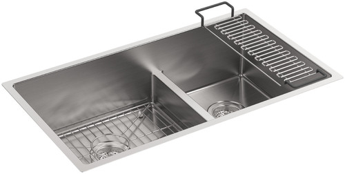kohler k 5284 na stainless steel strive 32 smart divide under mount largemedium double bowl kitchen sink with basin rack - Single Or Double Kitchen Sink