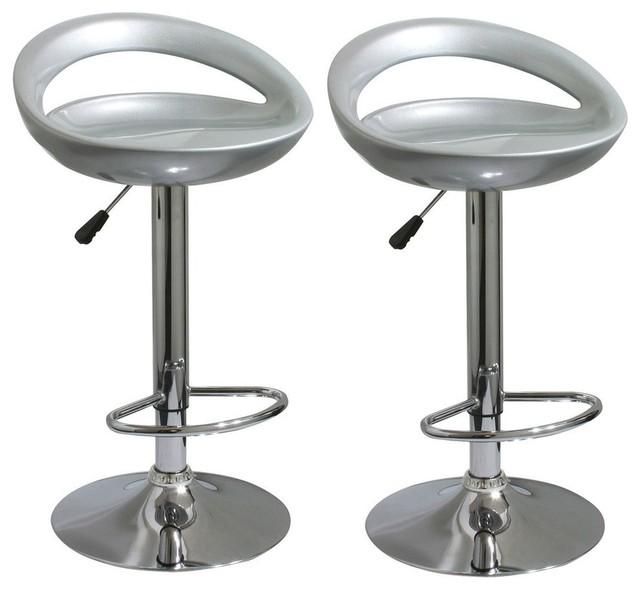 Terrific Amerihome Bs2001Set Modern Sleek Silver Bar Stools Set Of 2 Alphanode Cool Chair Designs And Ideas Alphanodeonline