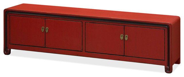 Chinese Ming Style Media Cabinet, Distressed Red Asian Media Cabinets